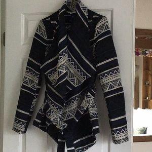 Open front jacket with tie belt, long sleeve